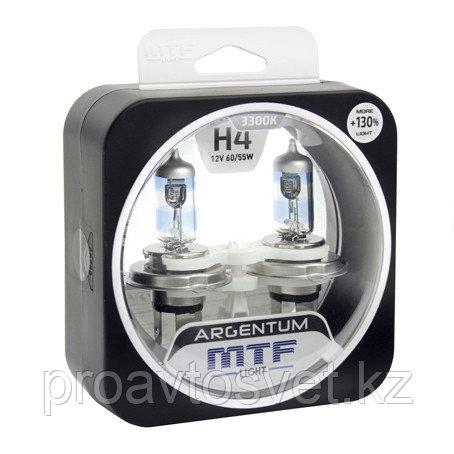 Галогенные автолампы MTF Light серия ARGENTUM +130% H4, 12V, 60/55W, комп.