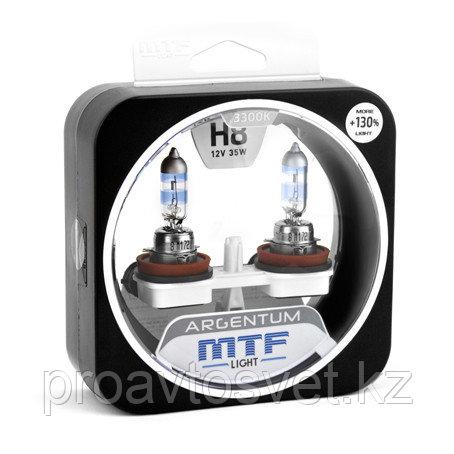 Галогенные автолампы MTF Light серия ARGENTUM +130% H8, 12V, 35W, комп.