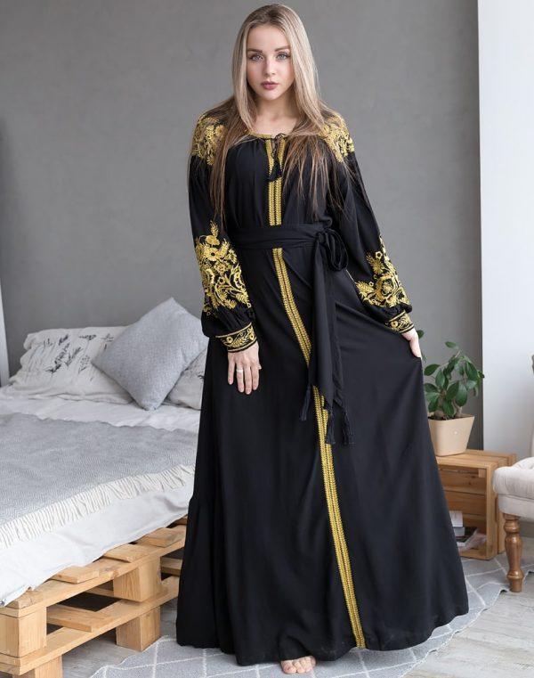 Платье Житне поле лён черный - фото 1