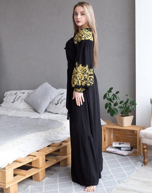 Платье Житне поле лён черный - фото 3