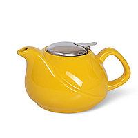 Заварочный чайник 750 мл с ситечком, ЖЕЛТЫЙ (керамика)