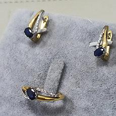 Комплект с сапфиром и бриллиантами