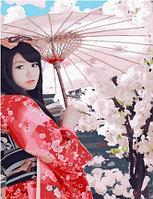 """Картина по номерам """"Гейша под зонтиком"""", 40х50 см"""