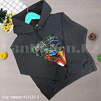 Детская толстовка с капюшоном и длинными рукавами с принтом Among us черная