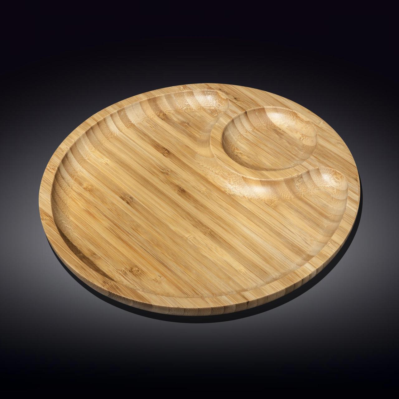 Сервировочное блюдо 30,5 см Wilmax бамбуковое круглое 2-х секционное
