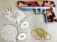 Резинкострел с мишенью пистолет из дерева (ручная работа)  #made in KZ