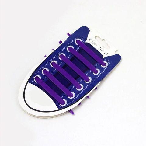 Шнурки для обуви эластичные силиконовые Never tie it {6+6} (Фиолетовый)