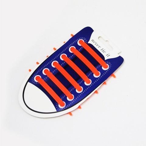 Шнурки для обуви эластичные силиконовые Never tie it {6+6} (Оранжевый)