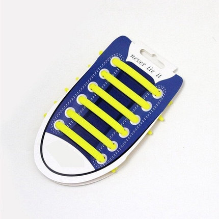 Шнурки для обуви эластичные силиконовые Never tie it {6+6} (Желтый), фото 2