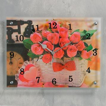 """Часы настенные, серия: Цветы, """"Корзина роз"""", 30х40  см, микс"""