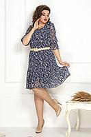 Женское осеннее шифоновое синее нарядное большого размера платье Solomeya Lux 791 48р.