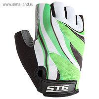 Перчатки велосипедные STG, размер M, цвет зеленый