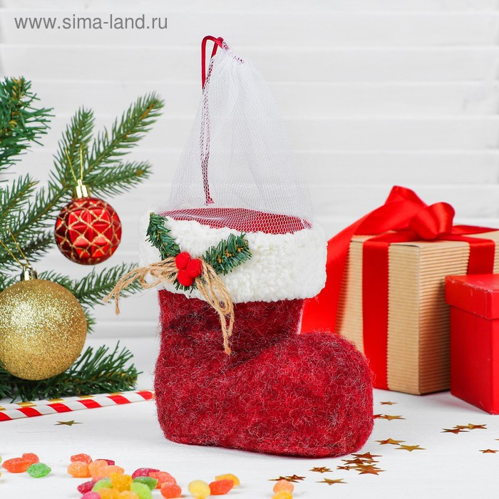 Конфетница «Сапожок», с веточкой, на завязке, вместимость 400 г, цвет красный - фото 1