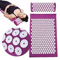 Аппликатор Кузнецова массажный акупунктурный коврик с подушкой массажер для спины.