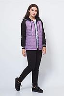 Женский осенний трикотажный спортивный большого размера спортивный костюм FORMAT 11372 розовый/черный 46р.