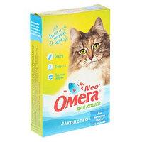 Лакомство Омега Nео 'Для выведения шерсти из желудка' для кошек, с ржаным солодом, 90 табл