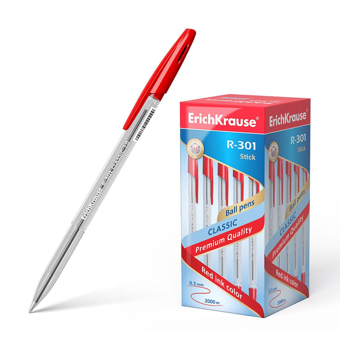Ручка шариковая ErichKrause® R-301 Classic Stick 1.0, цвет чернил красный
