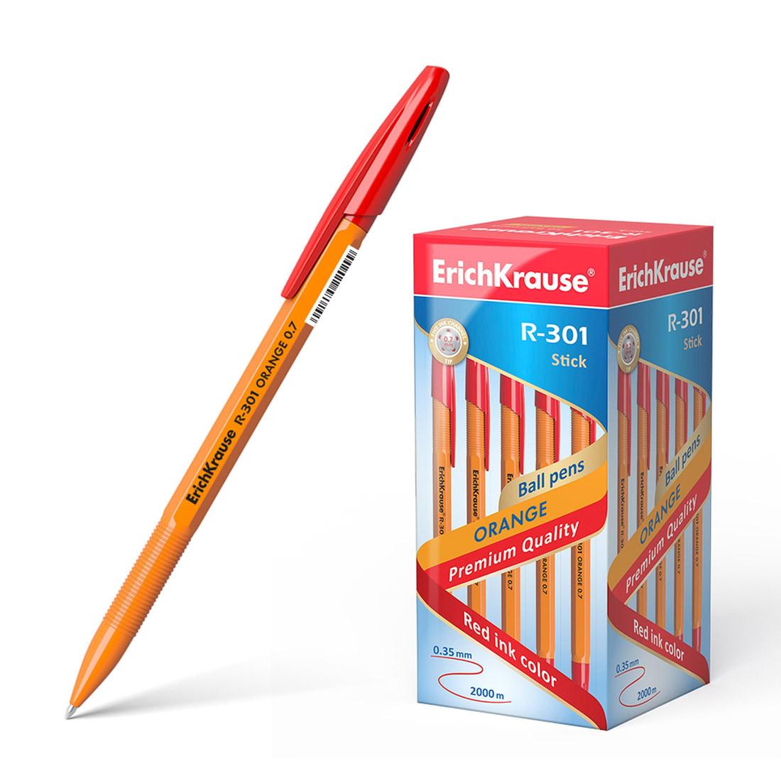 Ручка шариковая ErichKrause® R-301 Orange Stick 0.7, цвет чернил красный