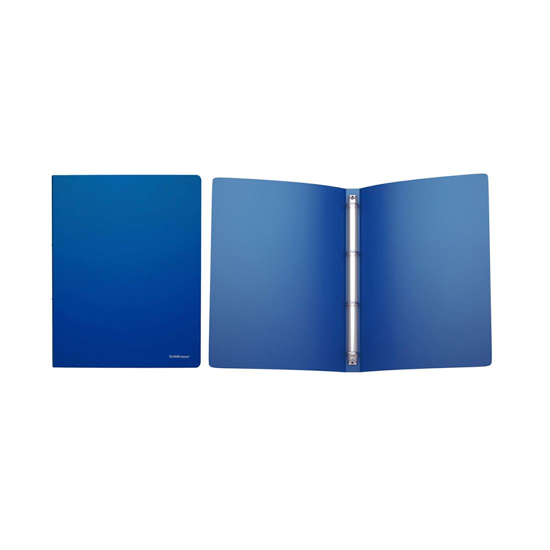 Папка на 4 кольцах пластик. ErichKrause® Classic, 24мм, A4, синий (в коробке-дисплее по 12 шт.)