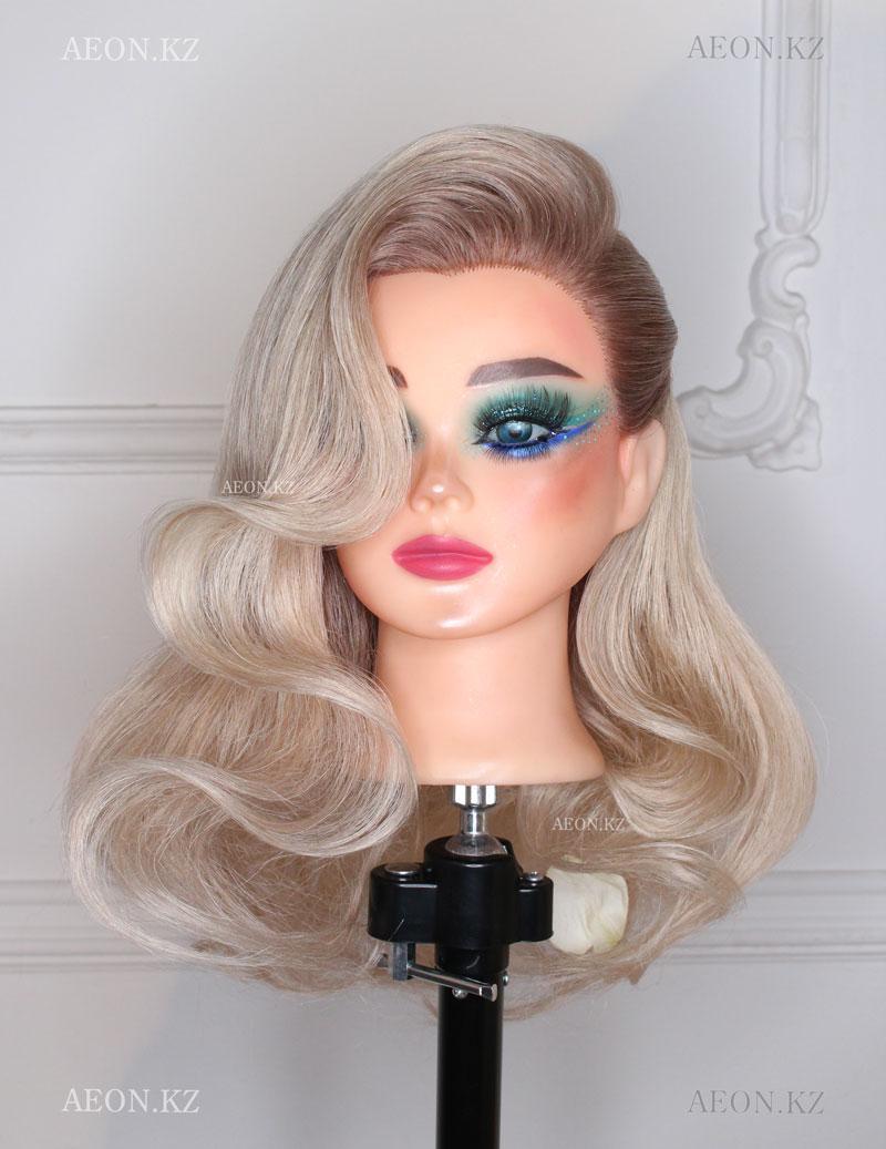 Голова-манекен блонд волос натуральный (95%) - 60 см
