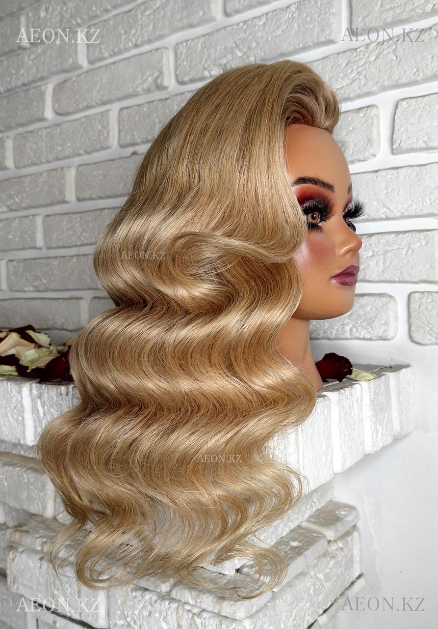 Голова-манекен Анжелика светло русый волос человеческий (100%) - 55-60 см