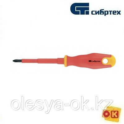Отвертка диэлектрическая PH1 х 80 мм, до 1000 В. СИБРТЕХ