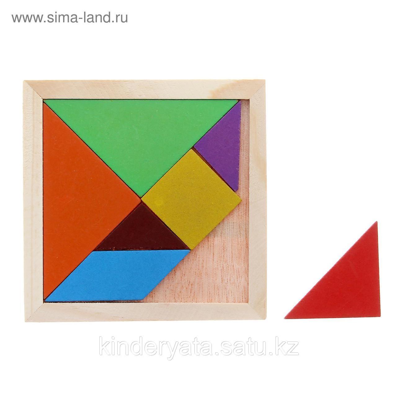 Головоломка «Танграм» квадратная, фигуры 7 деталей, 7 цветов