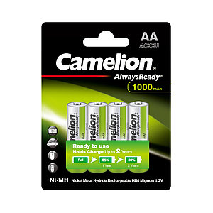 Аккумулятор CAMELION AlwaysReady Rechargeable Ni-MH NH-AA1000ARBP4 4 шт. в блистере