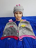 Шапка трикотажная с завязками для девочки. Фирма Tomino (Maja)