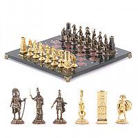 "Шахматы с бронзовыми фигурами ""Спарта"" камень креноид 40х40 см"