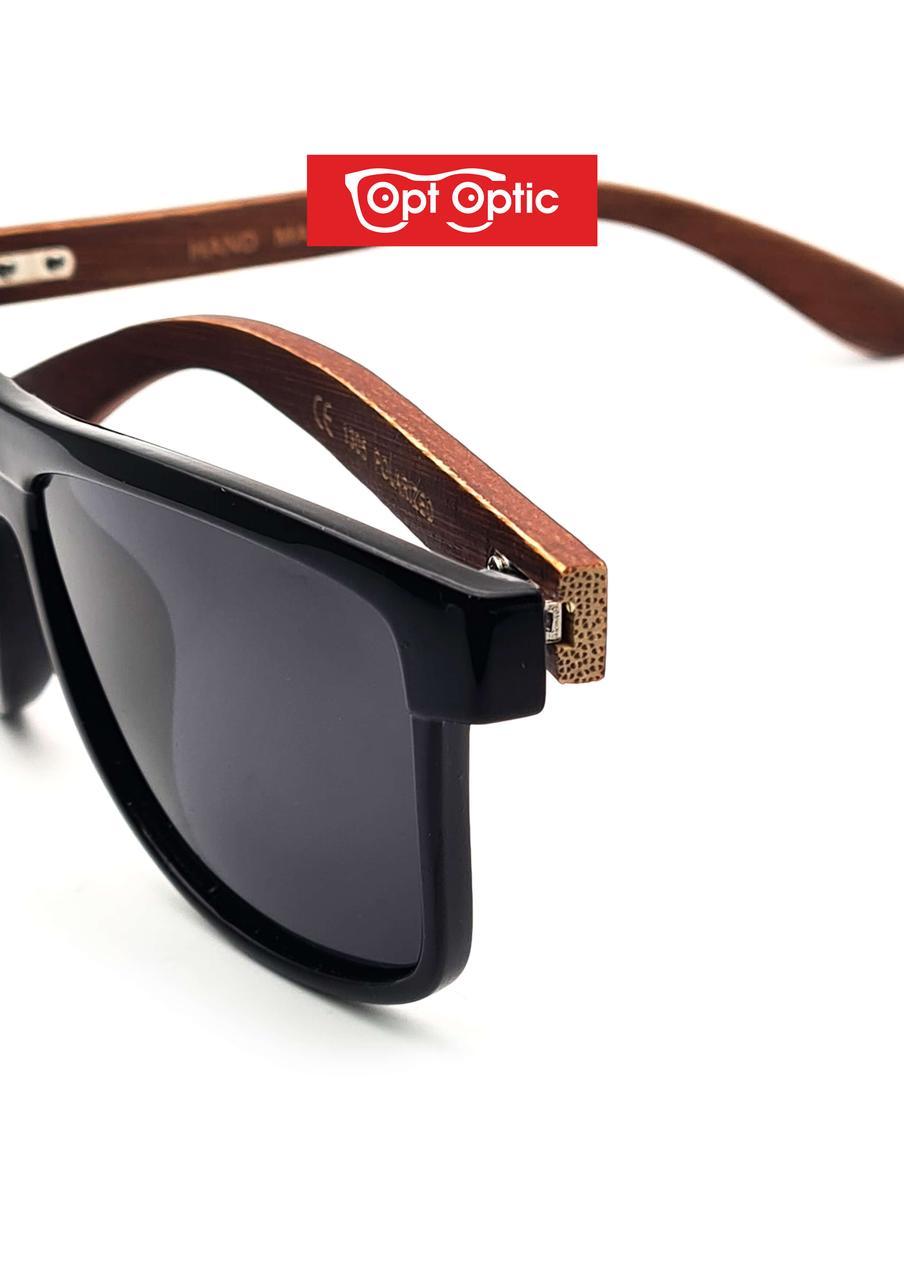 Очки солнцезащитные Polarized с бамбуковыми дужками - фото 3