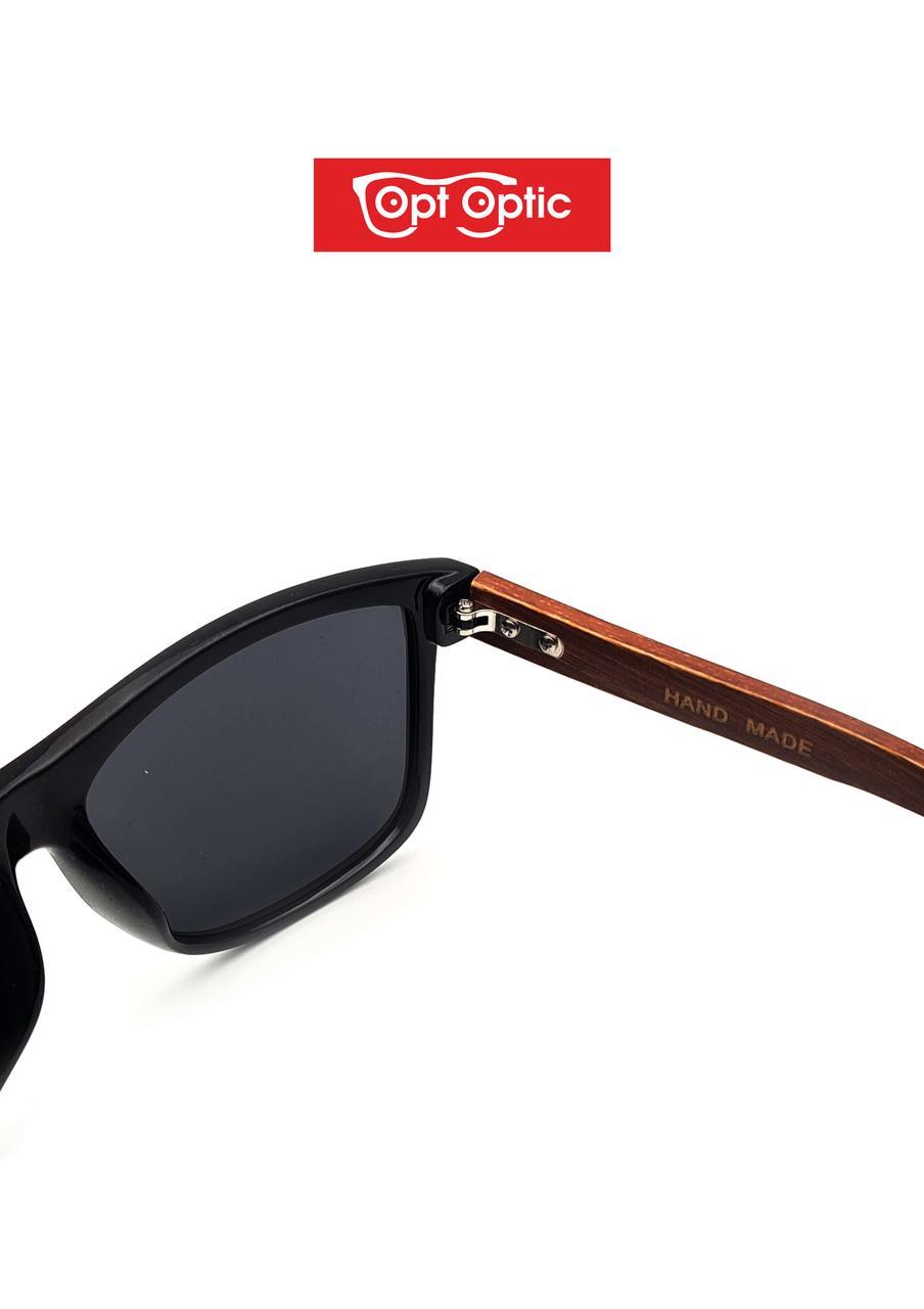 Очки солнцезащитные Polarized с бамбуковыми дужками - фото 4