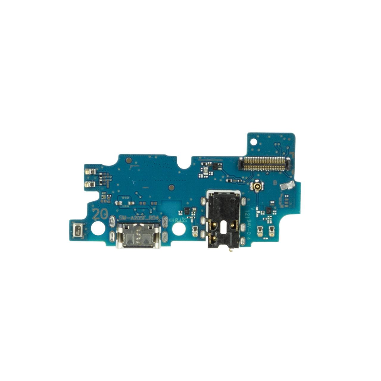 Нижняя плата Samsung Galaxy A20 с коннектором заряда и гарнитуры