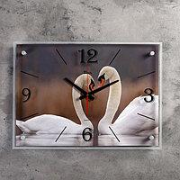 """Часы настенные, серия: Животный мир, """"Пара лебедей"""", 40х56 см"""