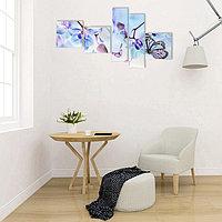 """Картина модульная на подрамнике """"Голубые цветы"""" 3- 34*34см, 2-20*70 см; 145х70"""