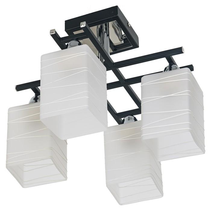 """Люстра еврокаркас """"Хилтон"""" 4 лампы 60W E27 черный-хром 38х38х27,2 см"""