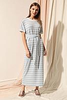 Женское осеннее трикотажное голубое платье Nova Line 50075 голубой 42р.