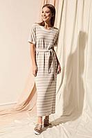 Женское осеннее трикотажное бежевое платье Nova Line 50075 бежевый 42р.