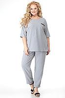 Женский летний серый большого размера брючный комплект Algranda by Новелла Шарм А3685 54р.