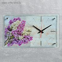"""Часы настенные, серия Цветы, """"Сирень"""", плавный ход, 59.5х36 см"""