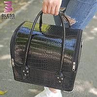 """Сумка-чемодан для мастера маникюра """"Крокодил"""" Черная"""