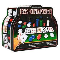 "Набор ""Покер"" в мет.банке (200 фишек 4 гр.,2 колоды карт,сукно)"