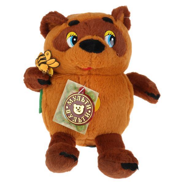"""Мульти-Пульти Мягкая игрушка """"Винни-Пух"""" Медвежонок Винни Пух с пчёлкой (звук), 15 см."""