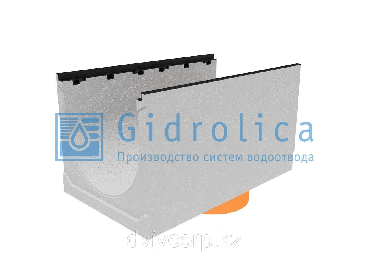 Лоток водоотводный бетонный коробчатый (СО-500мм), с чугунной насадкой, с водосливом КUв 100.60,3 (50).55(46)