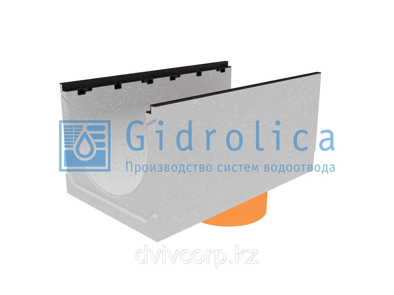 Лоток водоотводный бетонный коробчатый (СО-500мм), с чугунной насадкой, с водосливом КUв 100.60,3