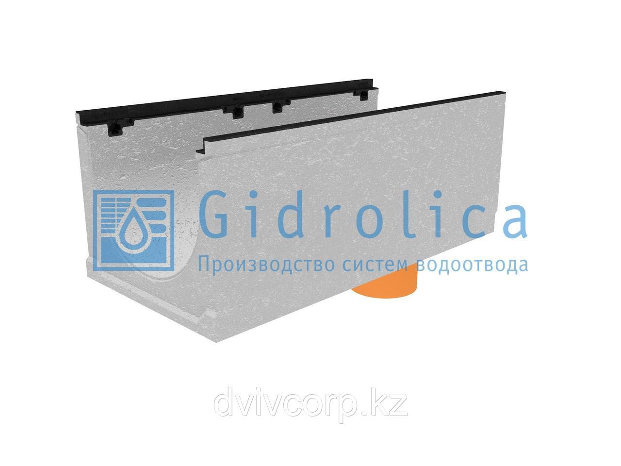 Лоток водоотводный бетонный коробчатый (СО-400мм), с чугунной насадкой, с водосливомКUв 100.49,9