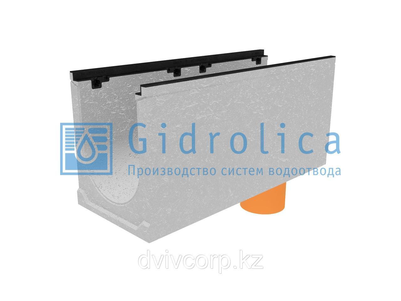 Лоток водоотводный бетонный коробчатый (СО-300мм), с чугунной насадкой, с водосливом КUв 100.39,9 (30).47(400)
