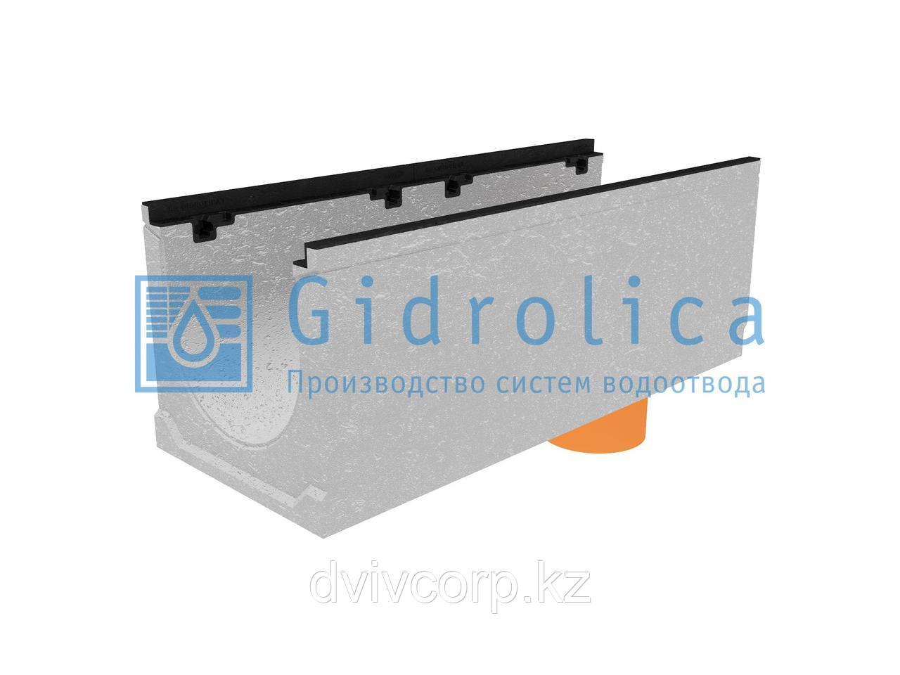 Лоток водоотводный бетонный коробчатый (СО-300мм), с чугунной насадкой, с водосливом КUв 100.39,9 (30).37(30)