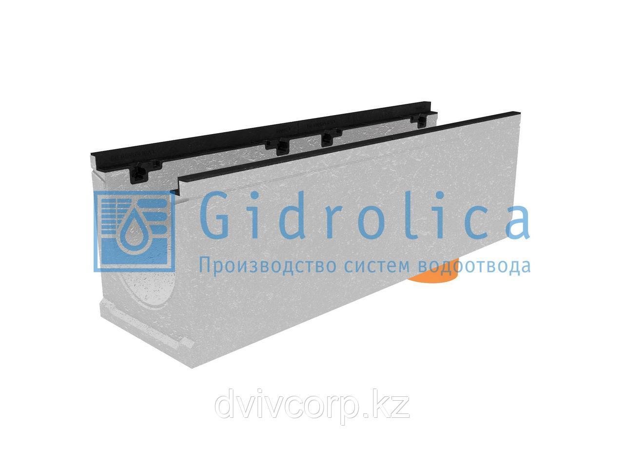 Лоток водоотводный бетонный коробчатый (СО-200мм), с чугунной насадкой, с водосливом КUв 100.29,8 (20).32(25)