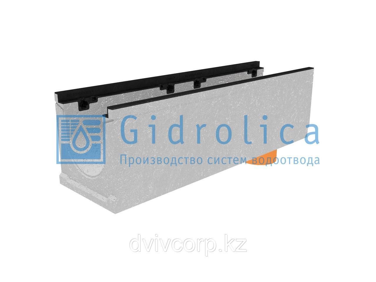 Лоток водоотводный бетонный коробчатый (СО-200мм), с чугунной насадкой, с водосливом КUв 100.29,8